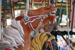 Carrousel. Details of horse carrousel in recreation park Stock Photo