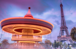 Carrousel with Eiffel Tower Stock Photos