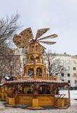 Carrousel en bois de Noël Photographie stock libre de droits