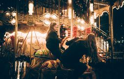 Carrousel. Happy memory smile girl Stock Images