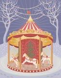 Carrousel met de paarden van Kerstmis royalty-vrije illustratie