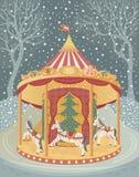 Carrousel met paarden vector illustratie