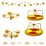Carrousel ou rond point du ` s d'enfants dans différentes projections de différents angles, isométrique, plats D'isolement sur le Images stock