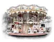 Carrousel, vrolijk-gaan-rond in Parijs De illustratie trekt, beschrijft vector illustratie