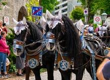 Carrozza a cavalli decorata di Löwenbräu ad una parata a Garmisch-Partenkirchen, Garmisch-Partenkirchen, Germania - 20 maggio immagini stock libere da diritti