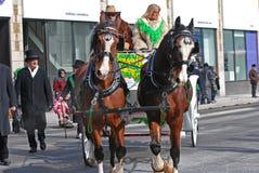 Carrozza a cavalli nel giorno del ` s di San Patrizio, Ottawa, Canada Fotografie Stock Libere da Diritti