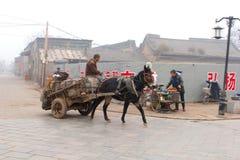 Carrozza a cavalli in Ping Yao nebbioso, Cina Fotografia Stock Libera da Diritti
