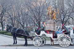 Carrozza di Hansom in Central Park New York City Fotografie Stock