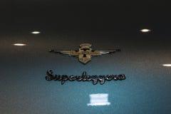 Carrozzeria Touring Superleggera emblem on Lamborghini 400 GT, closeup. Royalty Free Stock Photo