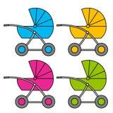 Carrozzina di varianti colorate Multi appartamento oggetto illustrazione vettoriale