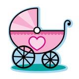 Carrozzino rosa del trasporto della neonata Immagini Stock Libere da Diritti