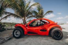 Carrozzino rosso parcheggiato sotto una palma Il Messico, Cancun, Cozumel, fotografia stock libera da diritti