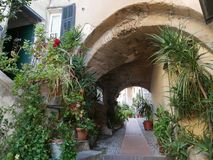 Medieval village of Cervo. Carrugi, the typical streets in the medieval village of Cervo, Liguria, Italy Stock Image