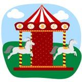 Carrusel con tres caballos Fotografía de archivo