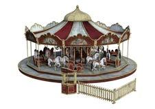 carrusel del vintage de la representación 3D en blanco fotografía de archivo libre de regalías