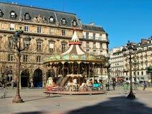 Carrusel en el área Hotel de Ville y Rue de Rivoli Imágenes de archivo libres de regalías