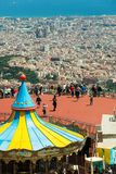 Carrusel en el parque de atracciones de Tibidabo en Barcelona Foto de archivo libre de regalías