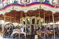 Carrusel en el parque del oeste lejano de PortAventura del área, España Imagen de archivo libre de regalías