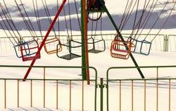 Carrusel en invierno Imágenes de archivo libres de regalías