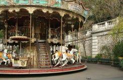 Carrusel viejo francés con los caballos Foto de archivo libre de regalías