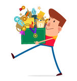 Carry a box full of trophy Royalty Free Stock Photos