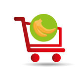 Carry buying banana fruit icon graphic Stock Image