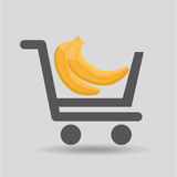 Carry buying banana fruit icon graphic Royalty Free Stock Photo