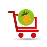 Carry buying pineapple fruit icon graphic Royalty Free Stock Image