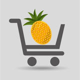 Carry buying pineapple fruit icon graphic Royalty Free Stock Images