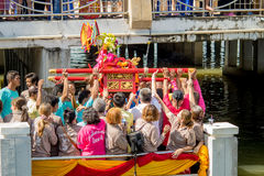 Carry Chinese Goddess Palanquins Across The River Stock Image