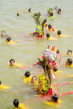 Carry Chinese Goddess Palanquins Across The River Royalty Free Stock Images