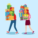 Carry gifts stack. Carrying christmas stacked presents in man and woman character hands. Heavy gift pile vector cartoon stock illustration