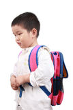 Carry schoolbag. A chinese little girl carries a schoolbag with white background royalty free stock image