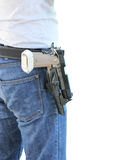 Carry A Shot Gun. On White Background Royalty Free Stock Image