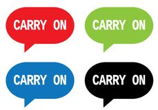 CARRY ON text, on rectangle speech bubble sign. Stock Photography