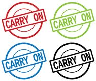 CARRY ON text, on round simple stamp sign. Royalty Free Stock Photos