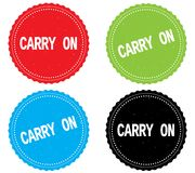 CARRY ON text, on round wavy border stamp badge. Stock Images