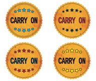 CARRY ON text, on round wavy border vintage, stamp badge. Stock Images
