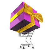 Carrying Big Gift Box By Shopping Cart Stock Photos