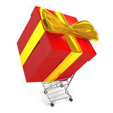 Carrying Big Gift Box By Shopping Cart Top View Stock Images