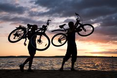 Carrying bikes Royalty Free Stock Image