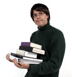 Carrying books. Carrying lots of books for a test royalty free stock photography