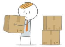 Carrying a box. Doodle stick figure: Man lifting carton box Stock Images