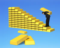 Carrying bullions on gold stairs isolated in blue Stock Image