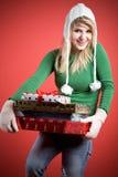 carrying caucasian gifts girl στοκ εικόνα με δικαίωμα ελεύθερης χρήσης