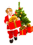 Carrying Christmas present Stock Photo