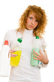 Carrying cleaning supplies Stock Photo