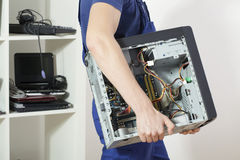 Carrying computer Royalty Free Stock Image