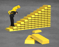 Carrying 3D golden money on bullion stairs. Man carrying 3D golden money on bullion stairs Royalty Free Stock Photos