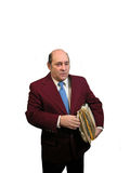 Carrying Files. An attorney or businessman carrying files, over white Stock Photography